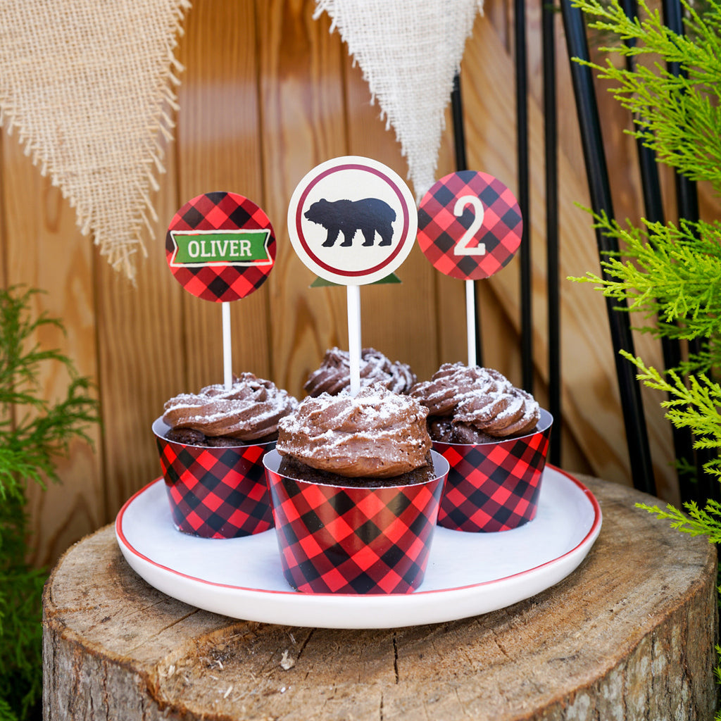 Little Lumberjack Party Cupcake Wrappers and Toppers | Woodland Forest Fun