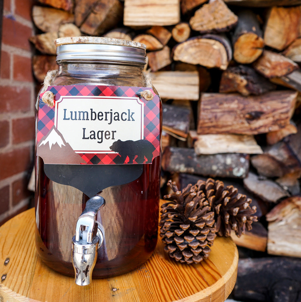 Little Lumberjack Party Drinks Label | Woodland Forest Fun