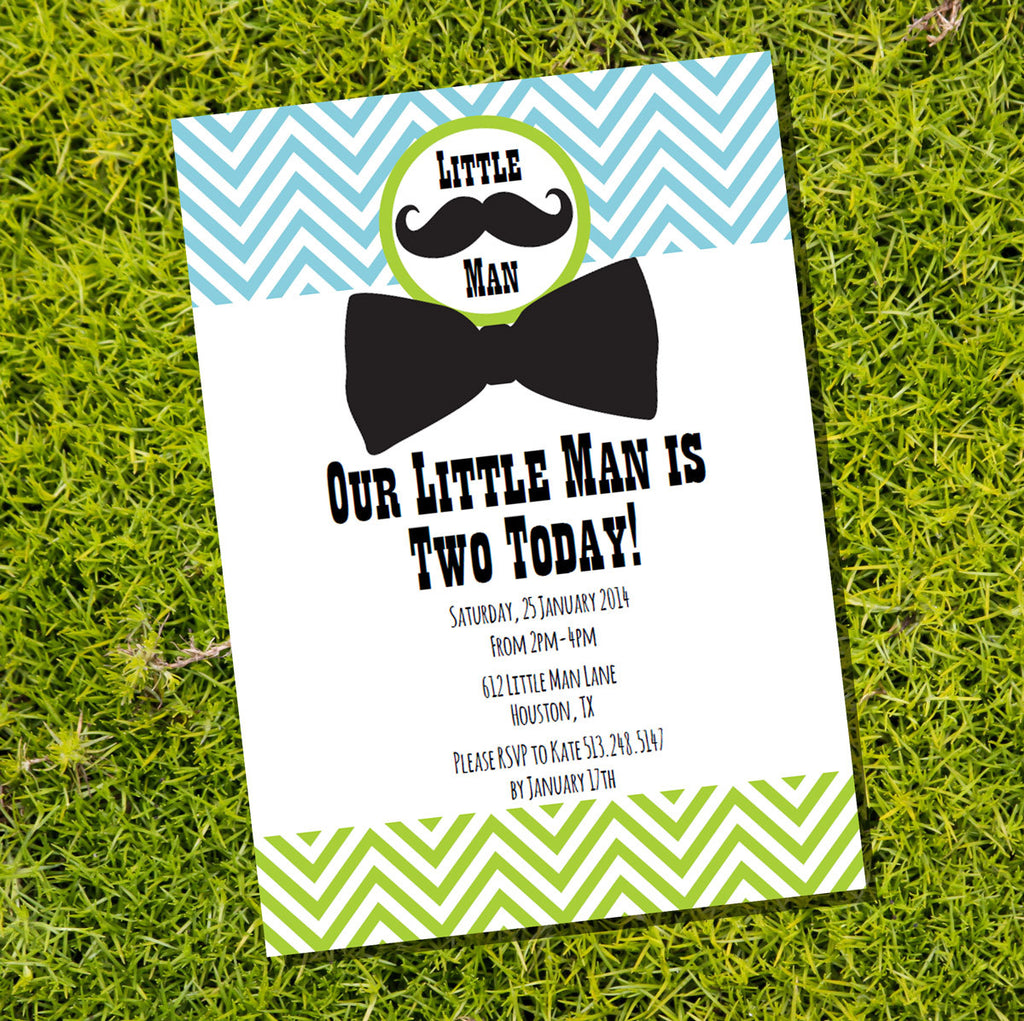 Little Man Birthday Party Invitation | Boy Birthday Invite ...