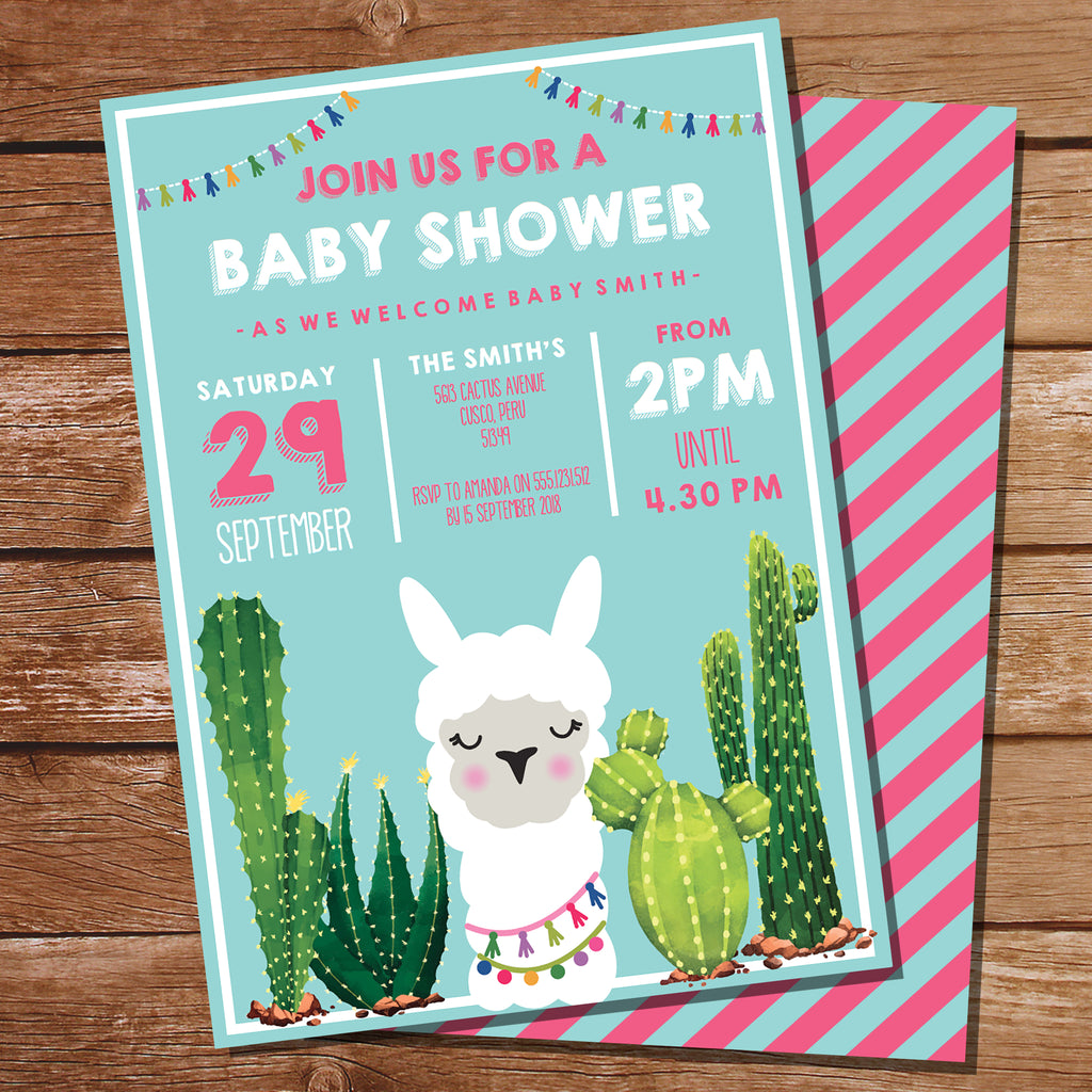 Llama Baby Shower Invite for a Girl
