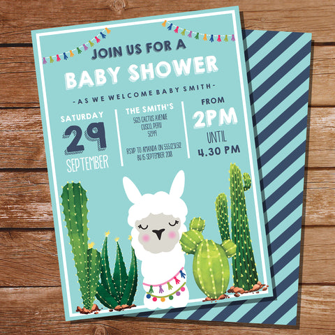 Llama Baby Shower Invitation for a Boy | Cute Llama Baby Shower Invitation