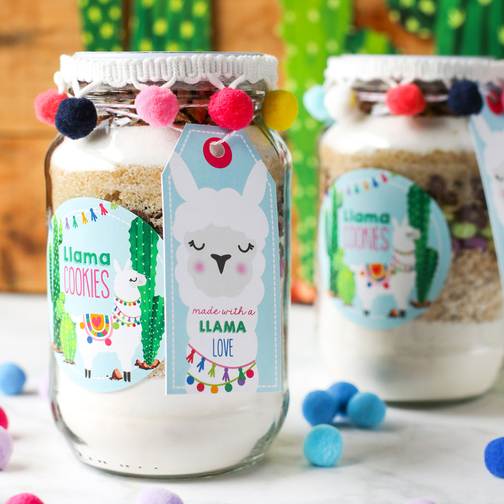 Llama Cookies in a Jar tags, labels, and recipe