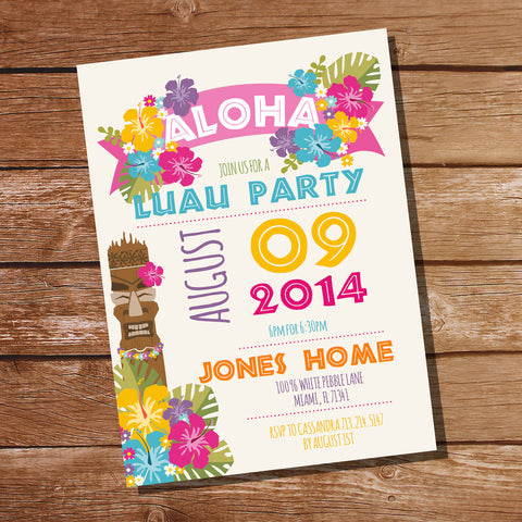 Luau Hawaiian Party Invitation | Tiki Party Invitation