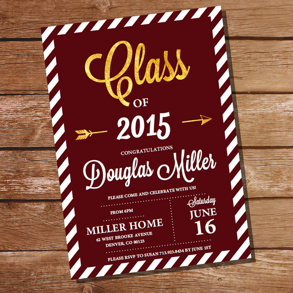 Maroon and Gold Graduation Invitation – Sunshine Parties