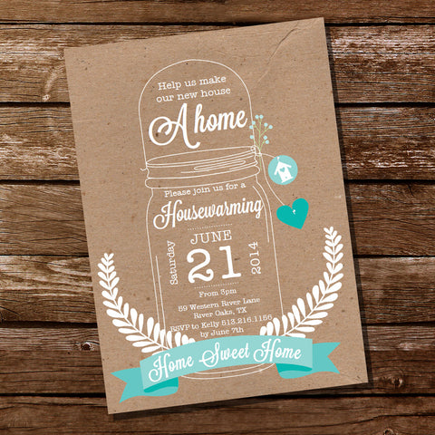 Shabby Chic Housewarming Mason Jar Invitation