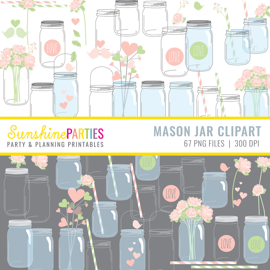 Mason Jar Clipart Set