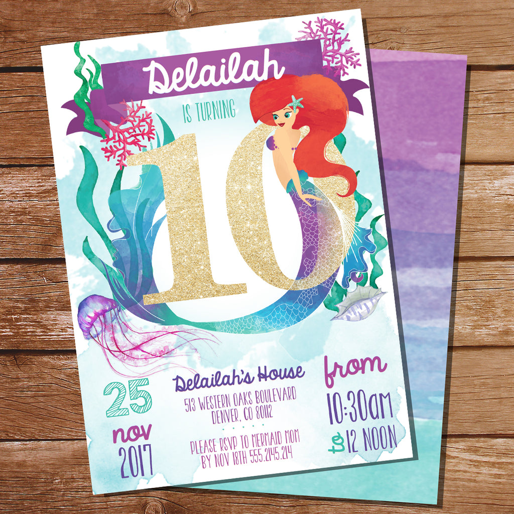Mermaid Watercolor Invitation Gold Glitter 10 Years Old