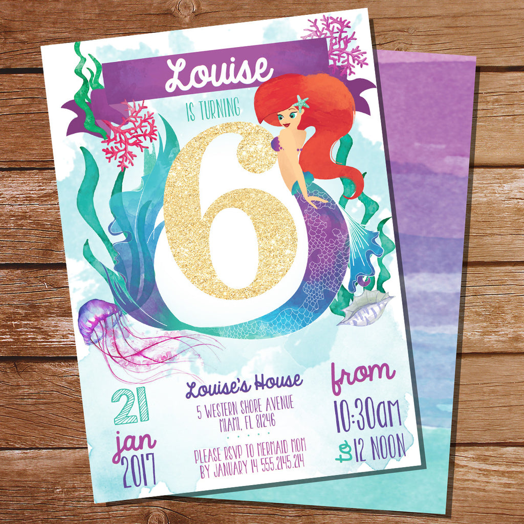 Watercolor Mermaid Birthday Party Invitation for a Girl 6th Birthday | Under The Sea Party Invite