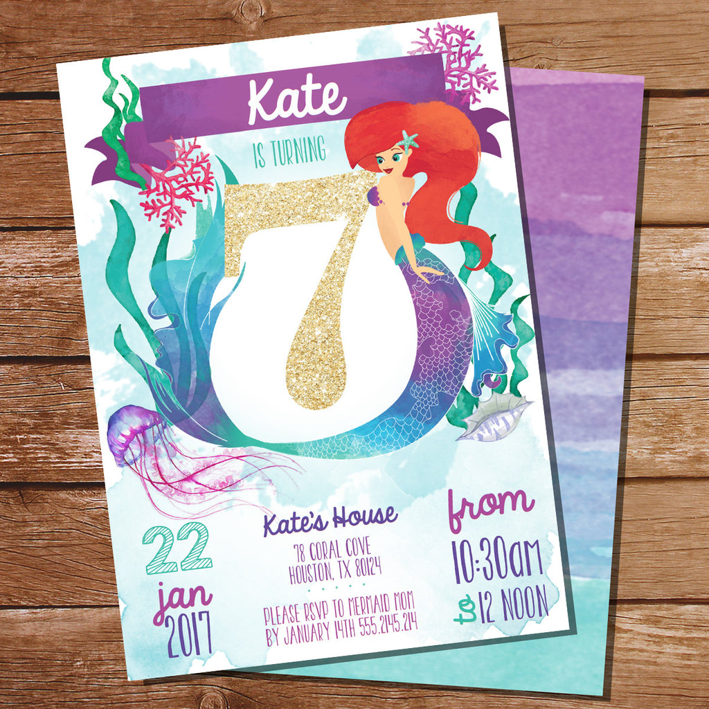 Watercolor Mermaid Birthday Party Invitation for a Girl 7th Birthday