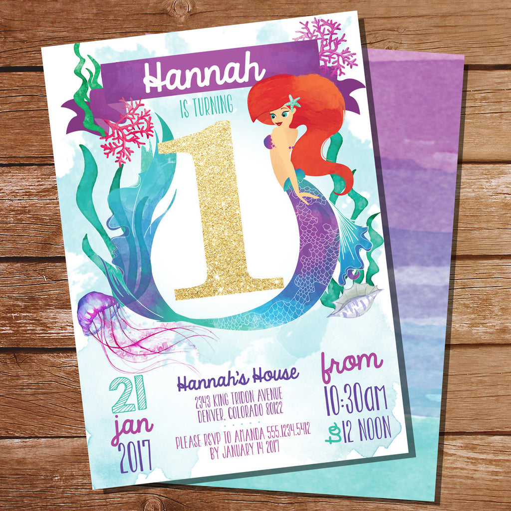 Watercolor Mermaid Birthday Party Invitation for 1st Birthday Party