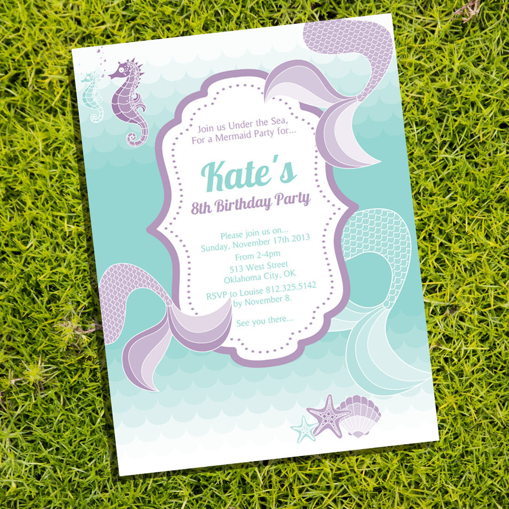 Mermaid Birthday Party Invitation for a Girl Under The Sea Party