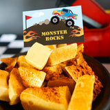 monster truck food labels - flag, flames and big truck on a mound of dirt