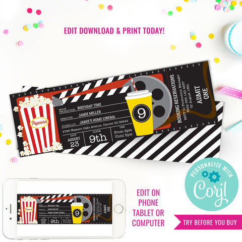Movie Party Invitation | Movie Ticket Invitation