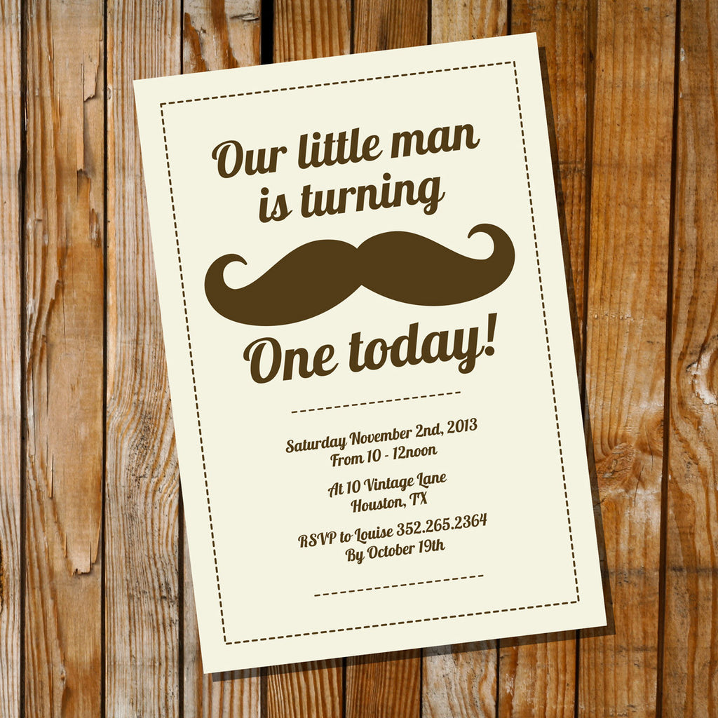 Mustache Birthday Party Invitation Little Man Birthday Invitation