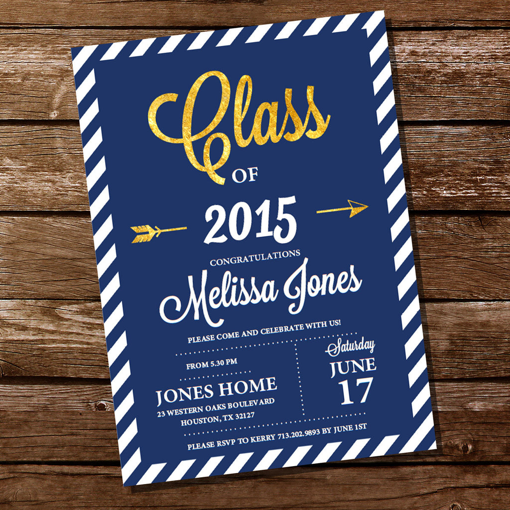 Navy Blue and Gold Graduation Invitation