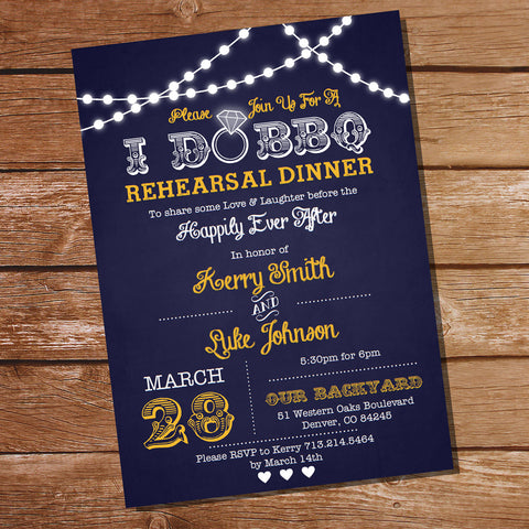 Navy Blue and Yellow I Do BBQ Rehearsal Dinner Invitation