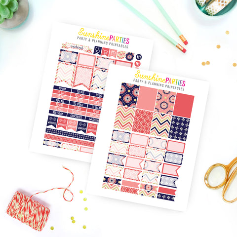 Navy Coral Glitter Planner Stickers