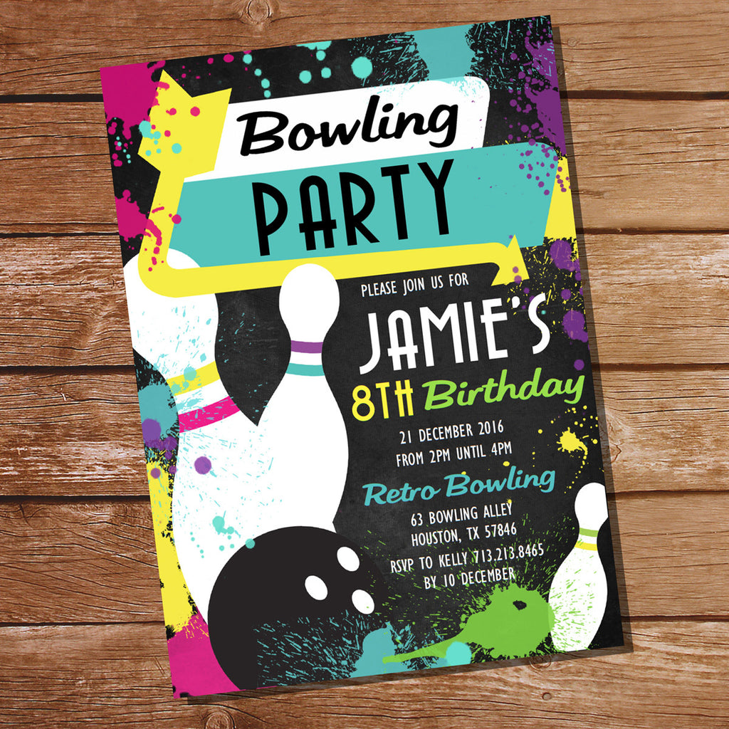 Neon Bowling Party Invitation | Retro Tenpin Birthday Party