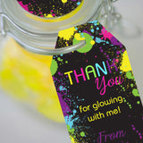 Let's Glow Neon Party Favor Tags