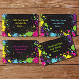 Let's Glow Neon Party Food Label Tent Cards