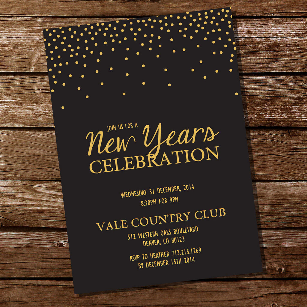 New Years Eve Party Invitation | Black And Gold Holiday Party Invitation