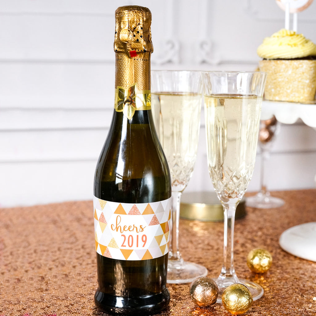 New Years Party Editable Water Labels | Mini Champagne Labels