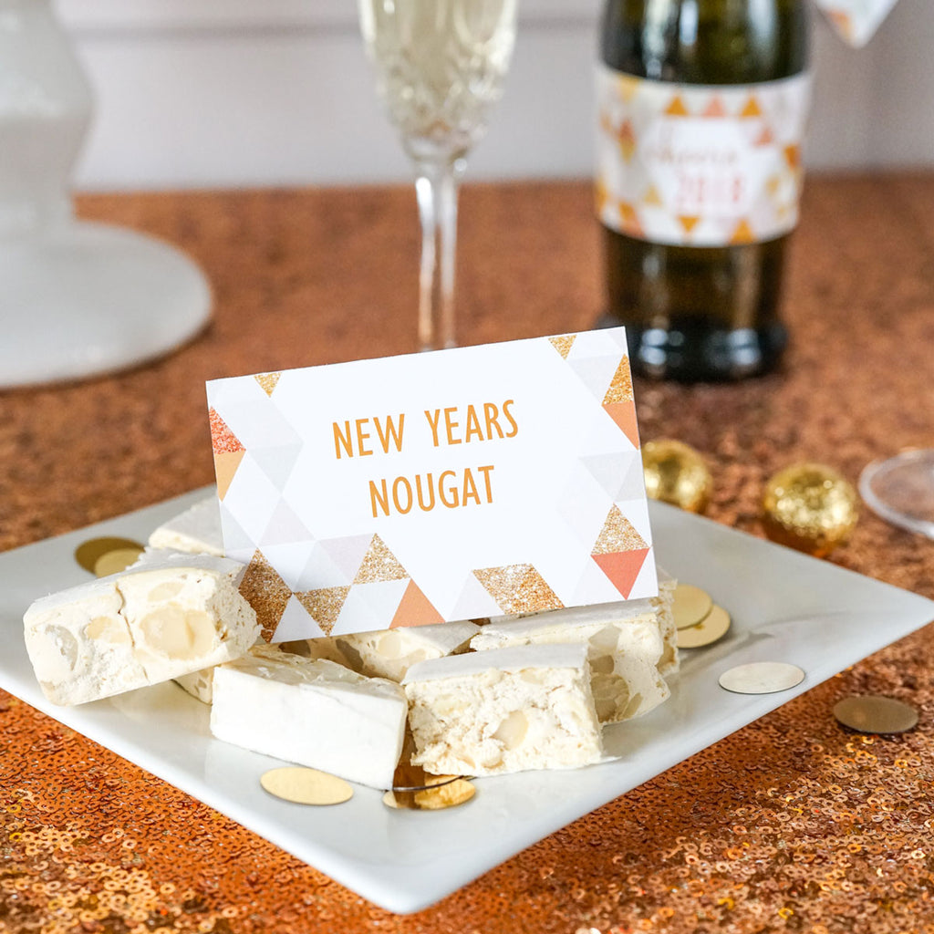 New Years Party Editable Food Labels