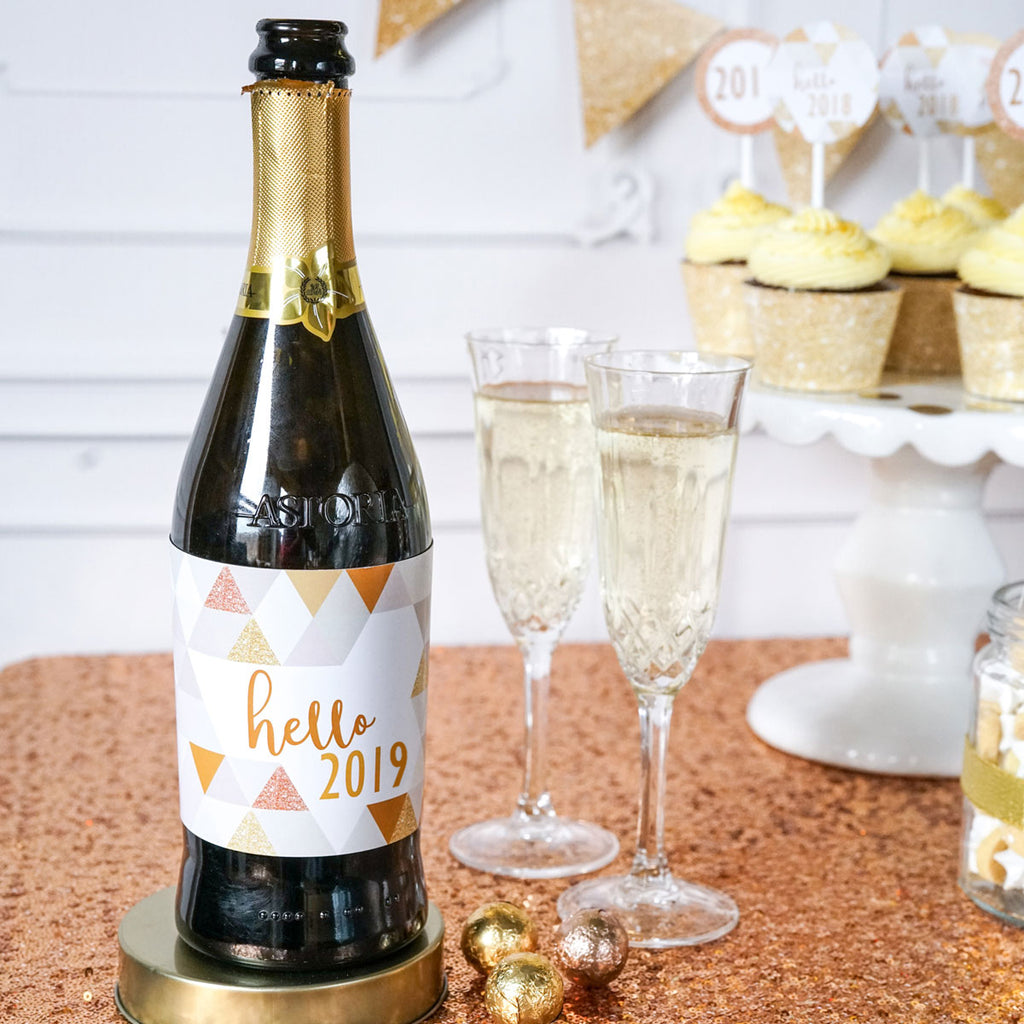 photo about Printable Wine Bottle Labels identify Refreshing Decades Eve Wine Bottle Labels Geometric Prism Steel Glitter  Champagne Labels