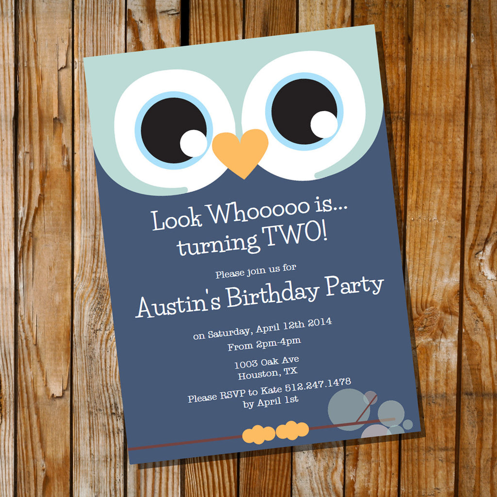 Cute Owl Birthday Party Invitation For A Boy