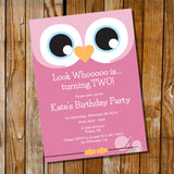 Cute Owl Birthday Party Invitation For A Girl