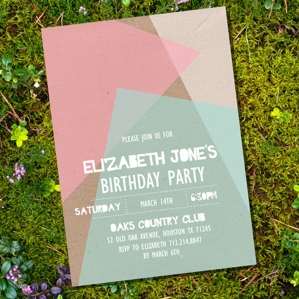 Kraft Geometric Birthday Invitation
