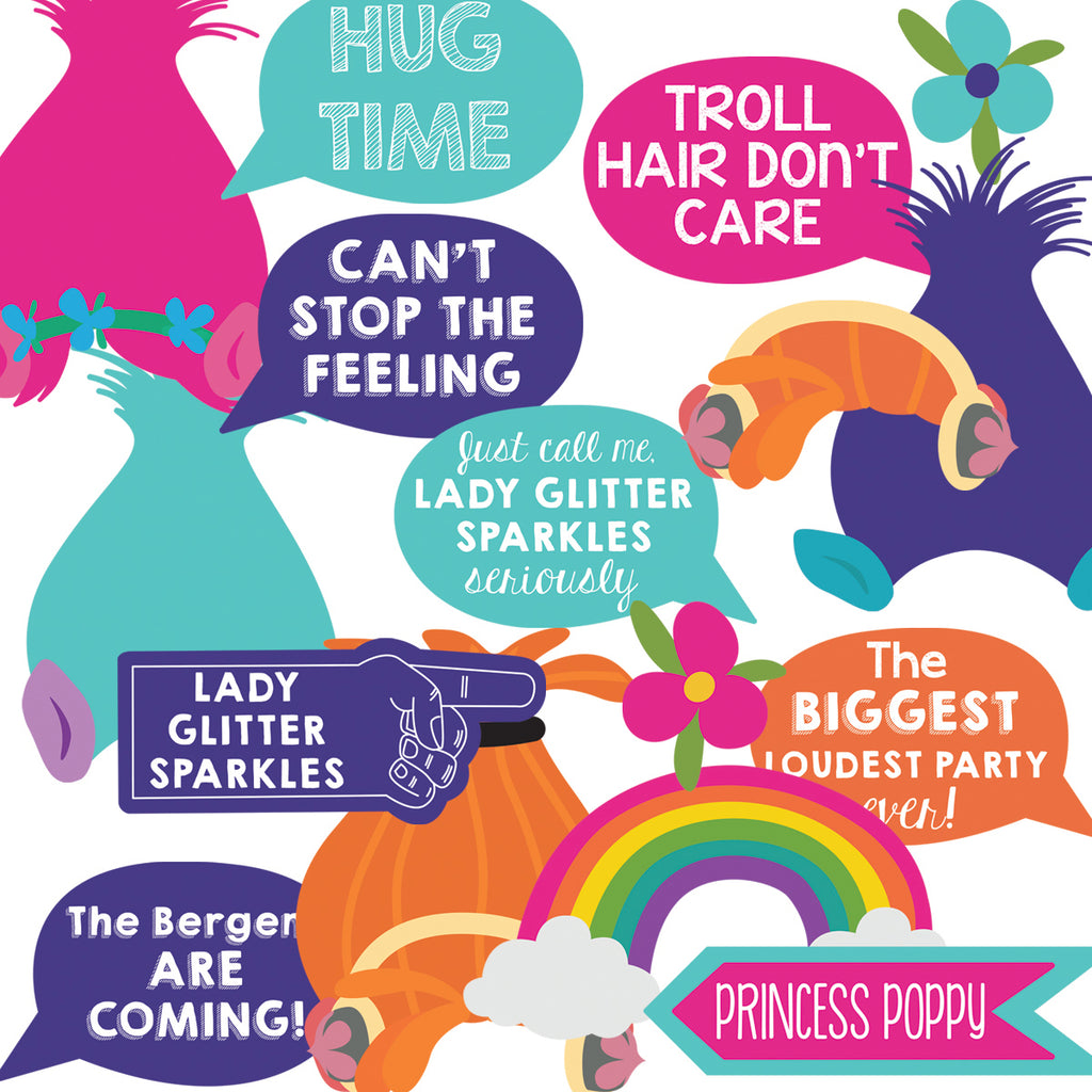 Trolls Photo Booth Printable Props