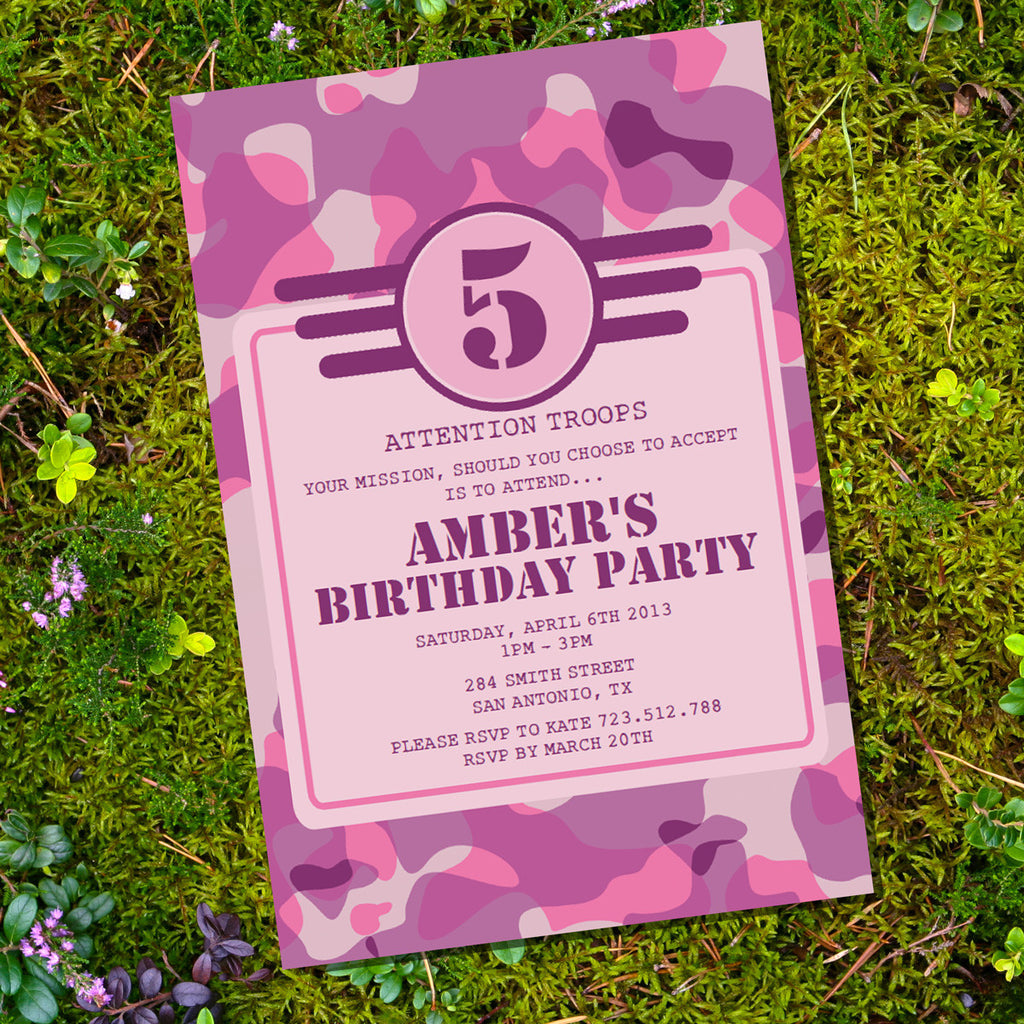 Girl Army Party Invitation | Pink Camo Birthday Party Invitation