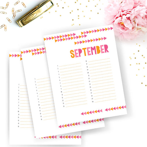 Pink And Orange Tribal Arrow Calendar Planner