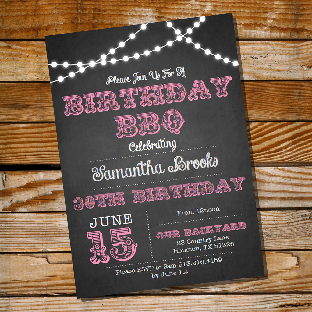 Chalkboard Pink BBQ Birthday Invitation