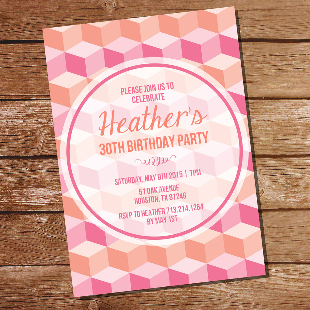 Coral and Pink Geometric Birthday Invitation