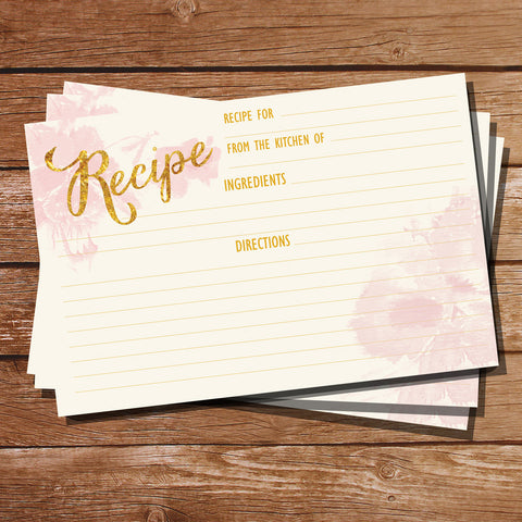 Pink Floral Watercolor Recipe Cards | Watercolor Floral