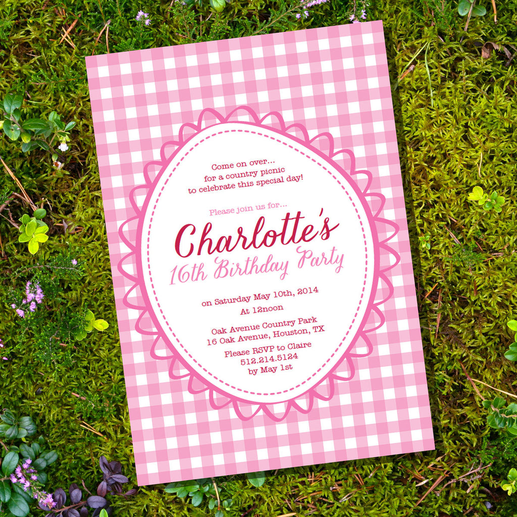 pink picnic birthday party invitation shabby chic sunshine parties