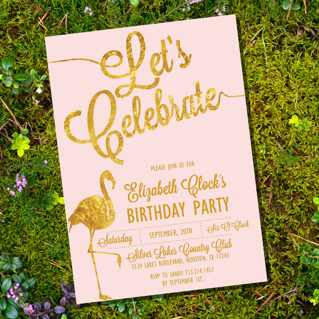 Let's Celebrate Pink and Gold Birthday Invitation | Flamingo Invitation