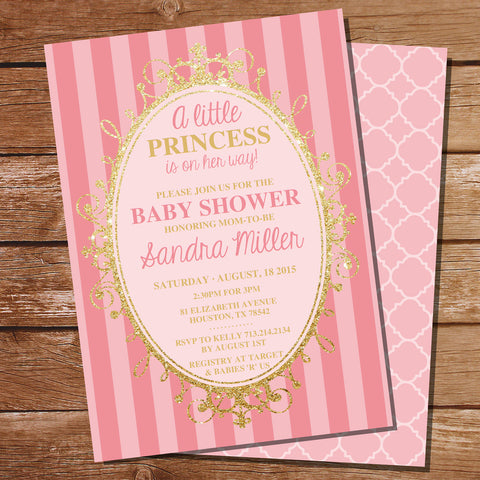 Pink and Gold Princess Party Invitation