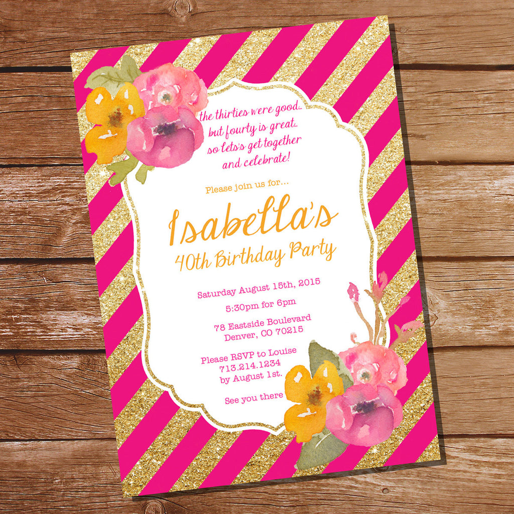 Pink and Gold Floral Watercolor Birthday Invitation Template