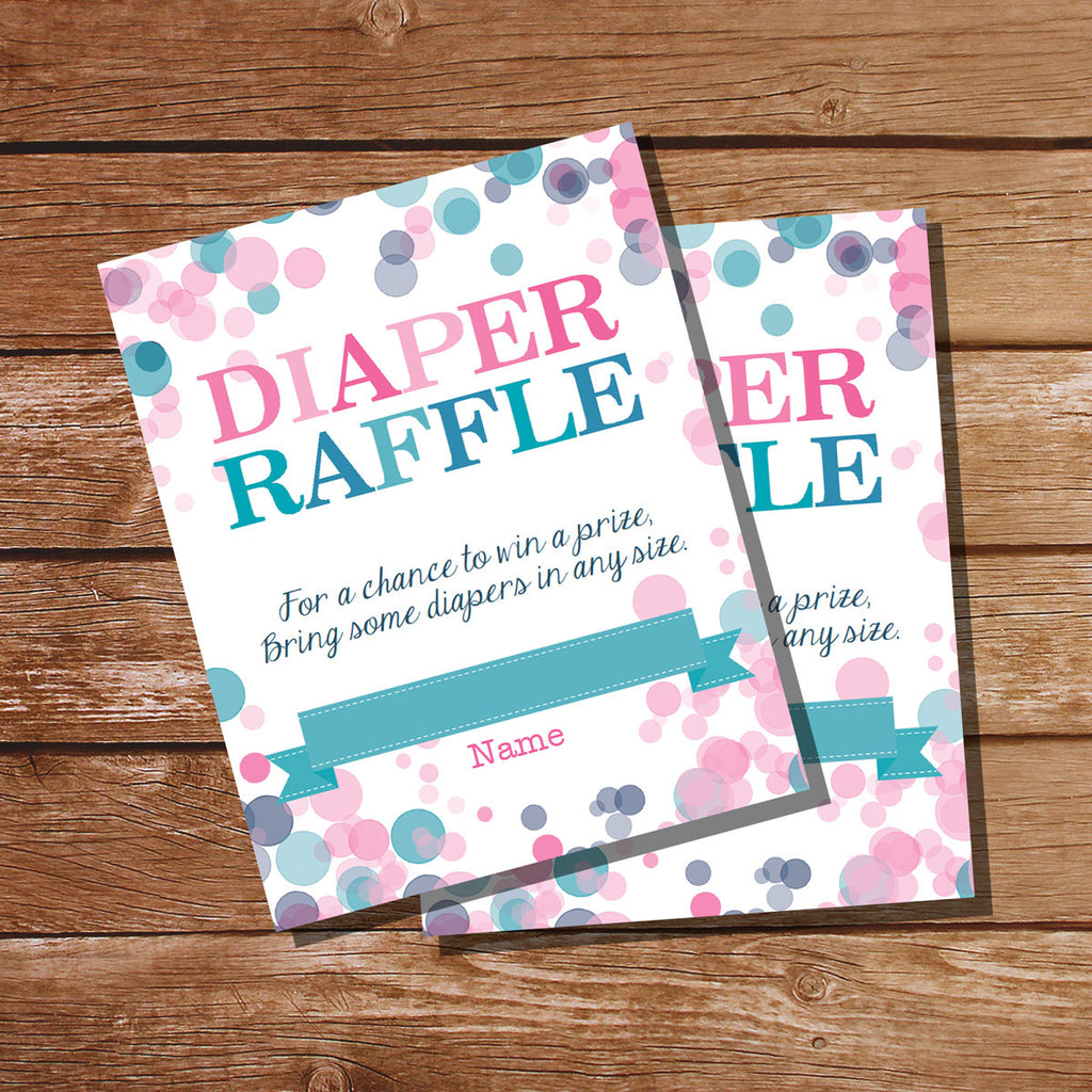 Pink Or Blue Gender Reveal Diaper Raffle Card