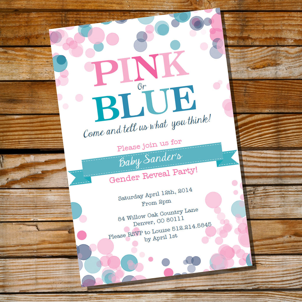 Pink Or Blue Gender Reveal Invitation Boy Or Girl Baby Shower