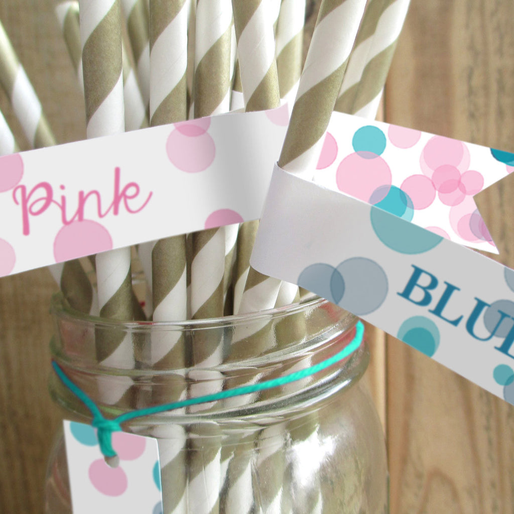 Pink Or Blue Gender Reveal Party Straw Flags