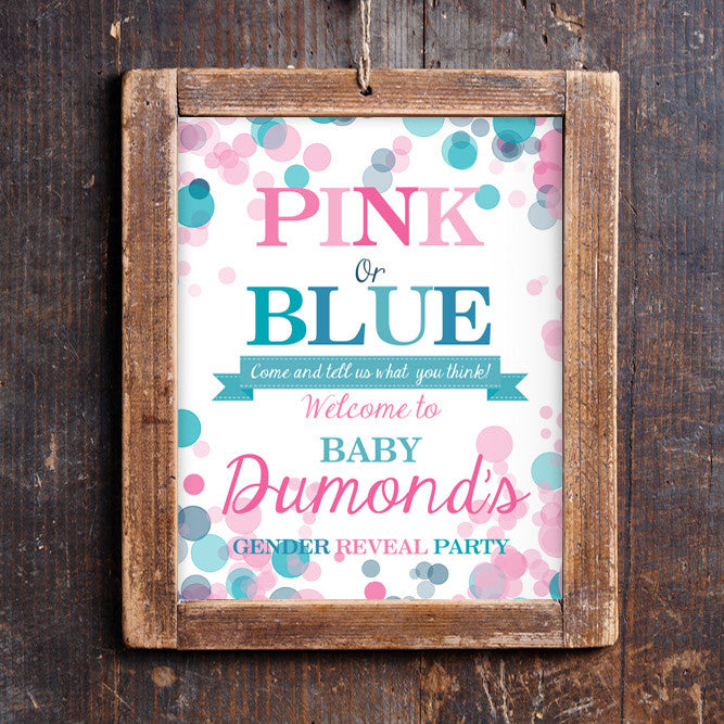 Pink Or Blue Gender Reveal Party Welcome Sign | Door Sign