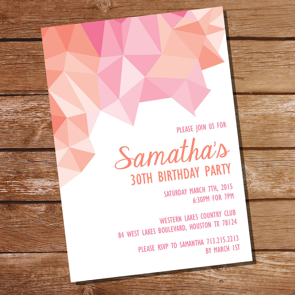 Pink and Orange Geometric Birthday Invitation