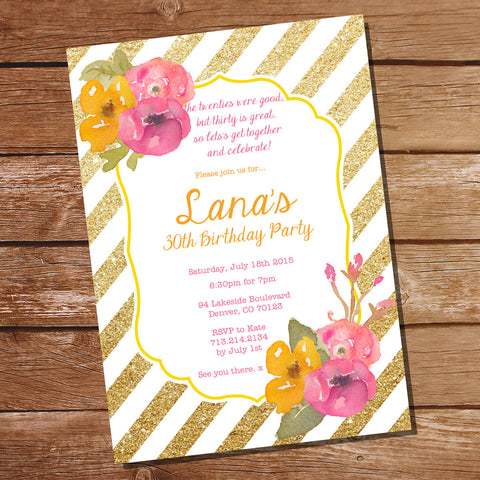 Gold Glitter Floral Watercolor Birthday Invitation