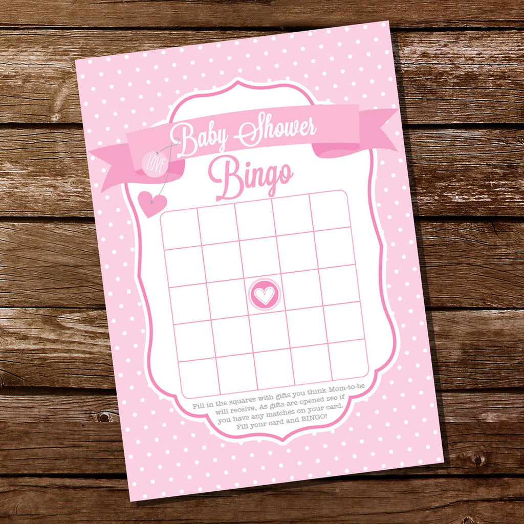 Pink Polka Dot Baby Shower Party Game Baby Bingo