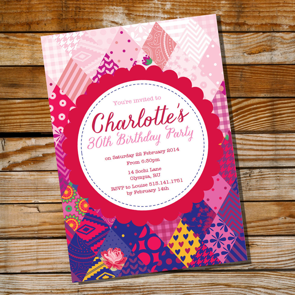 Pink and Red Shabby Chic Quilt Birthday Invitation Sunshine Parties