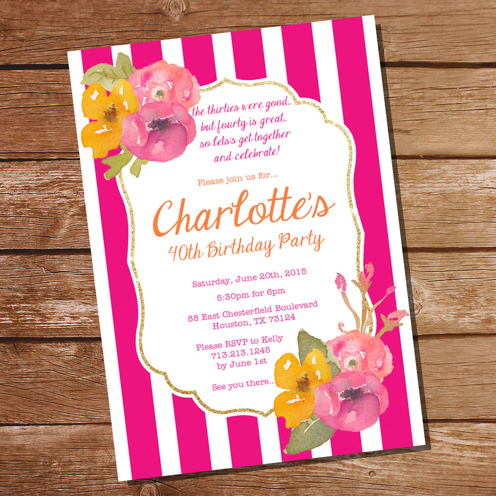 Pink and Gold Floral Watercolor Birthday Invitation